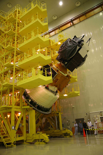 SES-3 Satellite Stack Tilting on the Tilter