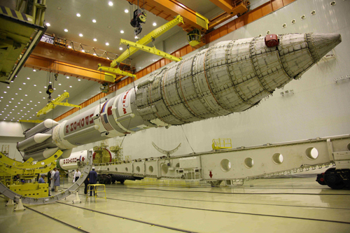 SES-3 Integrated launch vehicle lift