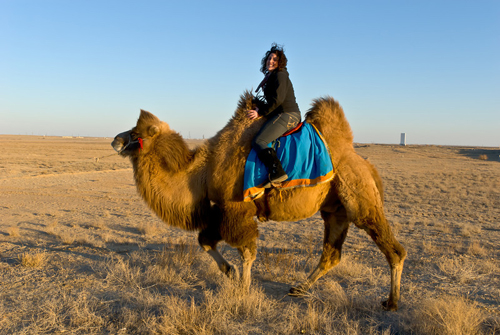 ILS Team Member on Camel during AsiaSat-7 Campaign